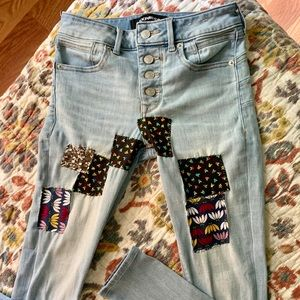 Hand patched EXPRESS Button Fly Skinny Jeans